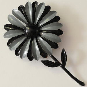 vintage grey black stripe enamel flower brooch pin